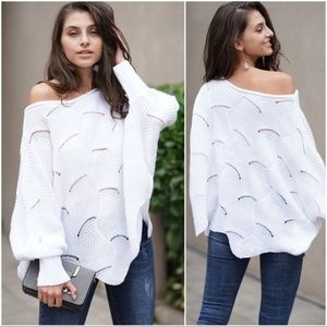 LAST ONE! White Scallop Hem Dolman Sleeve Sweater